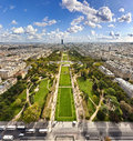 Champ de mars from the eiffel tower aerial view on paris france Stock Photography