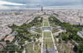 Champ de mars paris the cross shaped park from the top of the eiffel tower the city of is spreading on the rest of the image and Stock Photos