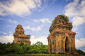 Champa towers qui nhon vietnam the restored remains of the bahn it of the cham people used for religious purposes near the city of Stock Photography