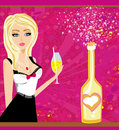 Champagne bottle and beautiful girl with vector illustration of a drink Royalty Free Stock Images