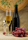 Champagne bottle, bucket, goblet and grapes Stock Image
