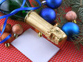 Champagne bottle and christmas decoration happy new year or wine Stock Photography