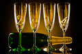 Champagne bottle with four glass goblet and numeral beautiful celebrations new year concept photo Royalty Free Stock Images