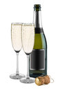 Champagne bottle of glasses and cork Stock Photography