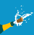 Champagne bottle illustration of popping champagen Royalty Free Stock Image
