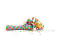 Champagne bottle with party streamer all on white background Royalty Free Stock Image