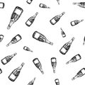 Champagne bottle seamless pattern. Hand drawn isolated vector illustration. Alcohol