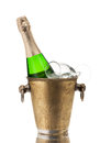 Champagne bottle in a vintage bucket Royalty Free Stock Photo