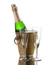 Champagne bottle in vintage ice bucket Royalty Free Stock Photo