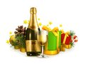 Champagne bottle and winter holidays gifts