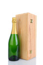 Champagne Bottle and Wood Box Royalty Free Stock Photo