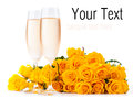 Champagne and a bouquet of roses, ready template Royalty Free Stock Photo