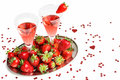 Champagne breakfast with strawberries on a tray Royalty Free Stock Images