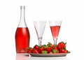 Champagne breakfast with strawberries on a tray Royalty Free Stock Photo
