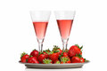 Champagne breakfast with strawberries on a tray Stock Image