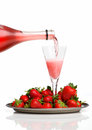 Champagne breakfast with strawberries on a tray Stock Photography