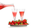 Champagne breakfast with strawberries on a tray Royalty Free Stock Photography