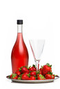 Champagne breakfast with strawberries on a tray Stock Photos