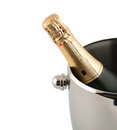 Champagne in a bucket on white background Royalty Free Stock Photography