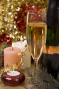 Champagne and candles Royalty Free Stock Images