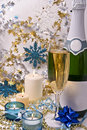 Champagne and candles Stock Photo