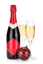 Champagne and christmas bauble Royalty Free Stock Images