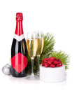 Champagne and christmas gift Royalty Free Stock Photo