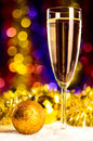Champagne with christmas toys Royalty Free Stock Photos