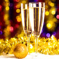 Champagne with christmas toys Stock Image