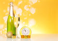Champagne clock and christmas decorations on a yellow background Stock Image