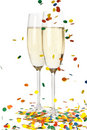 Champagne and confetti Stock Images