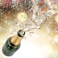Champagne explosion close up of celebration theme Royalty Free Stock Photos