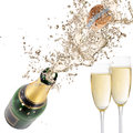 Champagne explosion close up of celebration theme Stock Photography