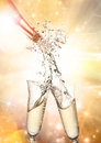 Champagne explosion close up of celebration theme Royalty Free Stock Images