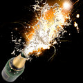 Champagne explosion close up of celebration theme Stock Photos