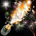 Champagne explosion close up of celebration theme Stock Image