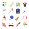 Champagne, firecrackers, cake items for the holiday.Party And Parties set collection icons in cartoon style vector
