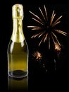 Champagne with fireworks in the background Royalty Free Stock Image
