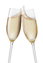 Champagne flutes toasting isolated on white background Royalty Free Stock Photography