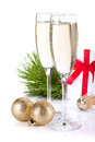 Champagne, gift letter and christmas decor Stock Photos