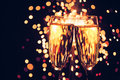 Champagne glass against sparkler background christmas Royalty Free Stock Photography