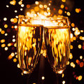 Champagne glass against sparkler background christmas Royalty Free Stock Photo