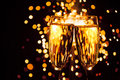 Champagne glass against sparkler background christmas Royalty Free Stock Images