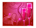 Champagne glass on red Stock Photography