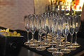 Champagne glasses on the bar ready for party Royalty Free Stock Images