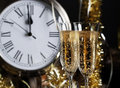Champagne Glasses Clock Midnight Royalty Free Stock Photo