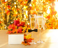 Champagne glasses with conceptual heterosexual decoration for straight couples place card Stock Photos