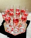 Champagne glasses on gold background. Party and holiday celebration concept Royalty Free Stock Photo