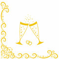 Champagne glasses.Golden wedding celebration Royalty Free Stock Photography