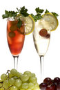 Champagne glasses with ice close up Stock Photos